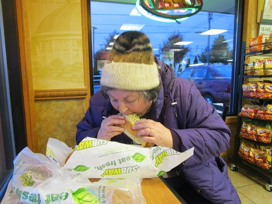 East Providence, RI: That is me eating my sandwich at Subway.