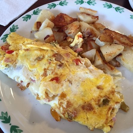 Dickson City, PA: simple homestyle breakfast of cheese omelette with peppers and home fries.