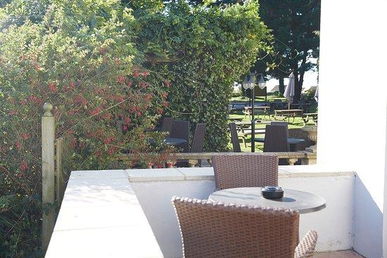 Sticklepath, UK: Cedars Refurb Table Overlooking Garden