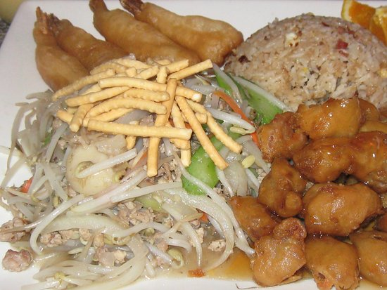 Lee's Chinese: chow mein, shrimp, pork and rice