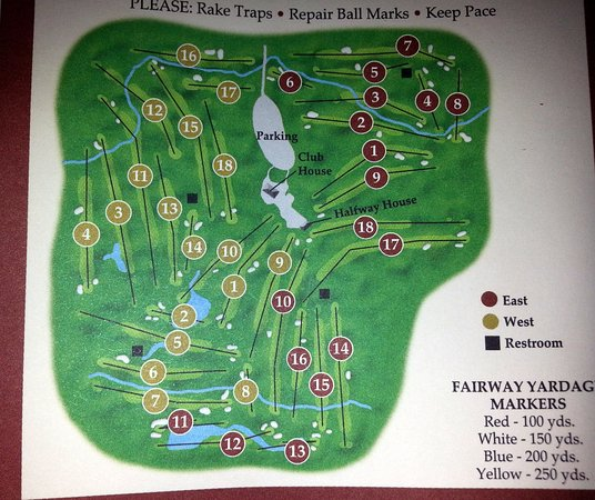 a map of the holes on both courses at White Pines Golf Club