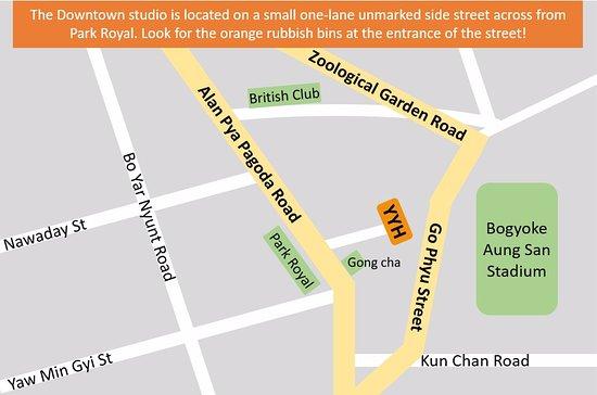 Studio downtown map - Picture of Yangon Yoga House, Yangon (Rangoon on
