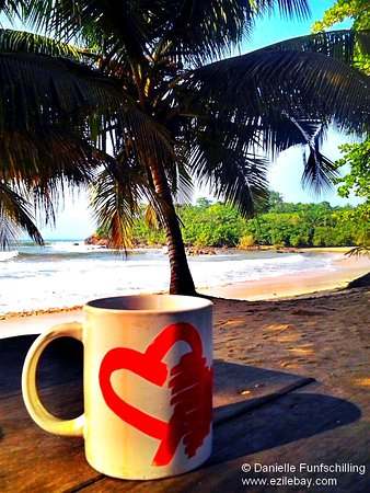 Busua, Ghana: A good coffee too start a beautiful day at Ezile Bay.