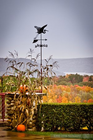 Penn Yan, Nova York: View of the Bluff in autumn from Heron Hill