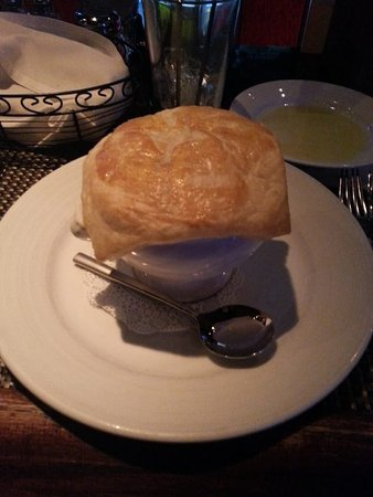 Paisano's on Broadway: Lobster Bisque--giant, fluffy puff pastry on top!