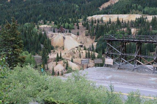 Silverton, CO: Yankee Girl Mine (upper left) and Mine Train Trestle, Million Dollar Highway in Foreground