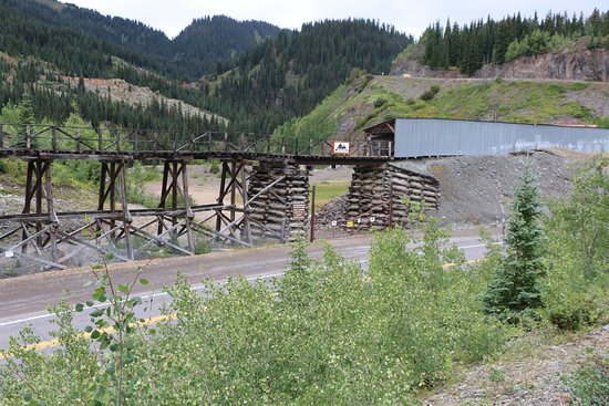 Silverton, CO: Mine Train Trestle with Million Dollar Highway Passing By