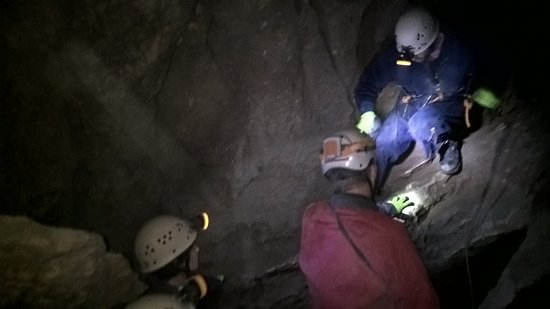 Canmore Cave Tours: Climbing down...