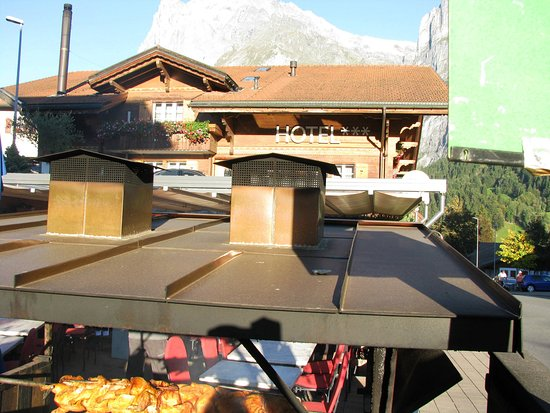 Chalet Hotel Steinbock: Wood Burning Rotisserie outside Steinbock Restaurant