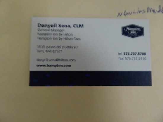 Hampton Inn Taos: Manager's Business Card