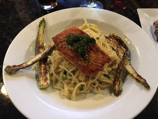 Victor, NY: Pan Seared Salmon over Linguine with Asiago Cheese and Grilled Asparagus