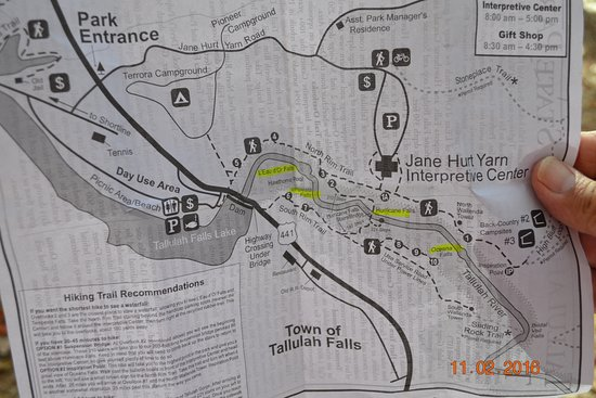 Hiking map Picture of Tallulah Gorge State Park Tallulah Falls