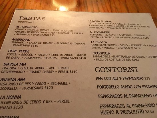 Oliva Kitchen & Bar: Here You ate The menu,you can ser The prices, The best italian food. Para los que pedían precios