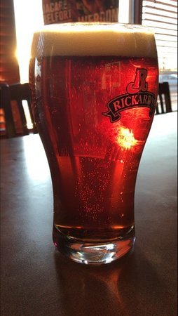 Bowmanville, Canada: Delicious Rickards Red beer on a sunny day.
