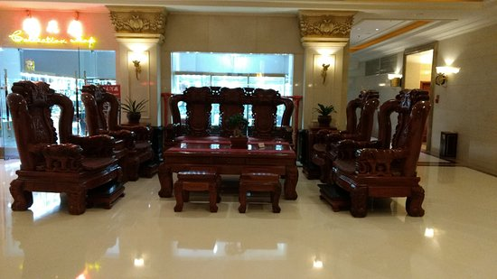 Xinmi, China: Jumbo size sofa in the hotel lobby