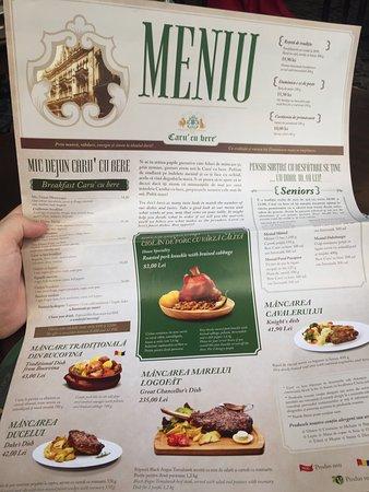 caru cu bere nice menu in english with good prices