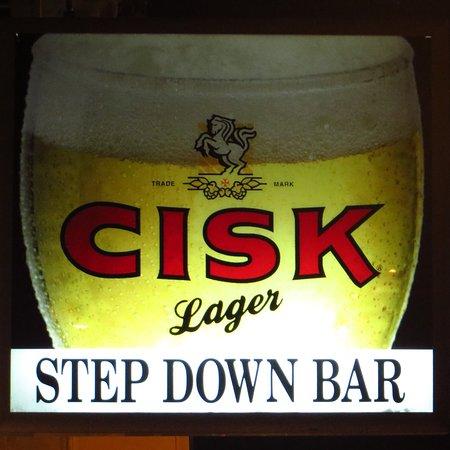 Step Down Bar: The pub sign outside the bar
