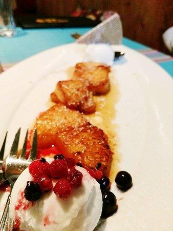 la taqueria ibk desert flambeed pineapple with coconut ice cream and berries