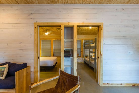 Wimberley, TX: 1 of the 2 Master Bedrooms in our New 6 Person Cantina Cabin and the Kid's Room