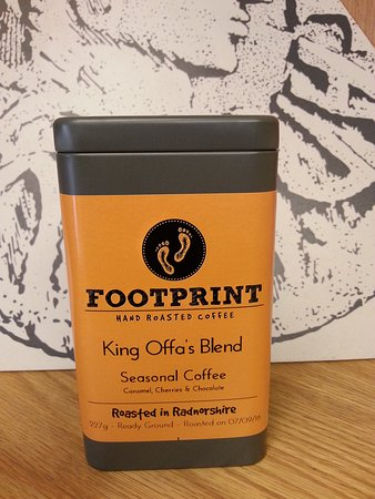 Knighton, UK: We have our own blend of local 'Footprint' coffee - King Offa's Blend!
