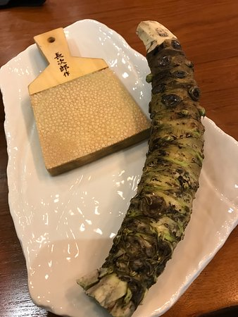 Yuba Restaurant: Sharkskin grater is used to grate the wasabi steam