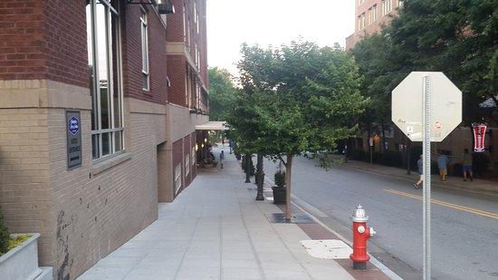 Hampton Inn & Suites Raleigh Downtown: Vista desde calle Glenwood, hacia la entrada del hotel.