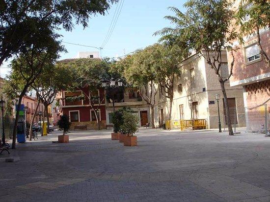 Historica Plaza del Casino en La Alberca, también llamada La Alberca de las Torres en Murcia.
