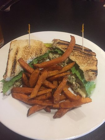 Northfield, MN: Fried Chicken Salad Sandwich with sweet potato fries - delicious.