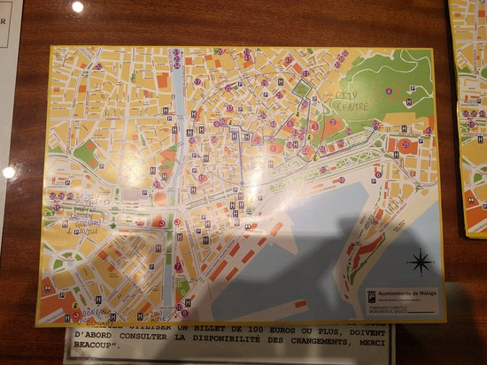 MAP OF MALAGA apologies if you can t see the hotels La Caixa bank