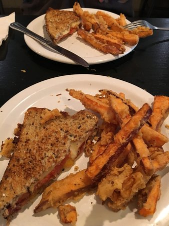 Cottage Grove, OR: Grilled cheese on crazy good bread with tempura sweet potato fries