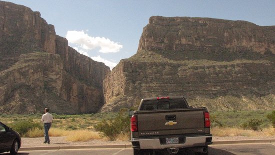 Alpine, TX: St. Elena Canyon overlook. US on the right side. Be sure to take the trail up the canyon.