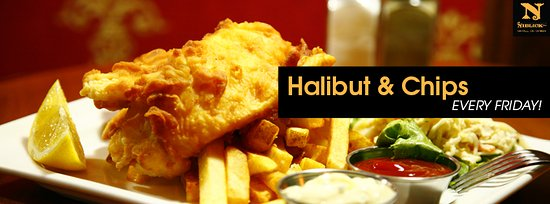 Niblick Pub: Halibut Fish & Chips every Friday. Amazing.