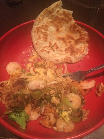Flat Top Grill: My Shrimp Stir Fry Creation with Roti Bread