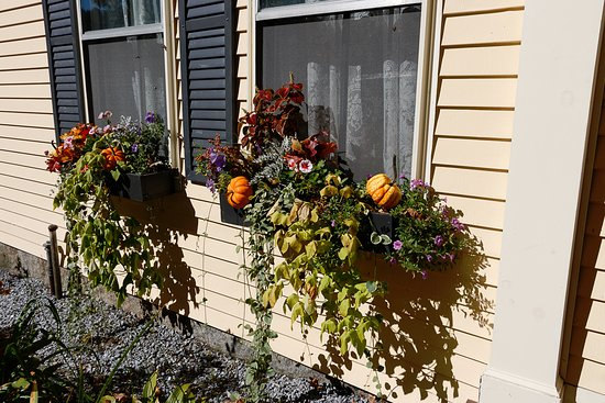 Warner, Nueva Hampshire: Flower boxes with harvest additions for October