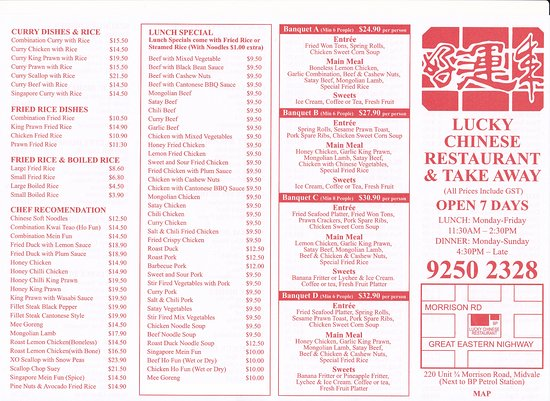 Lucky chinese restaurant midvale restaurant reviews for Cinese menu