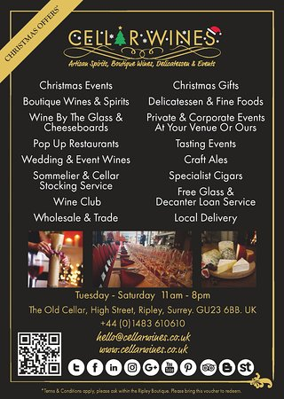 christmas flyer cellar wines ripley surrey www cellarwines co uk 01483610610