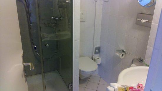 Eden Hotel Geneva : Single room bathroom