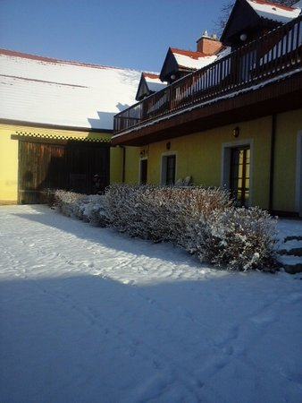 Brasy, Czech Republic: the yard in winteer
