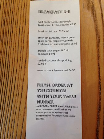 Chesters By The River: Breakfast menu