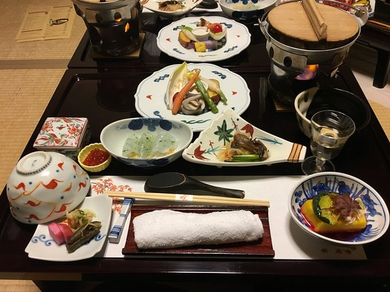 shima onsen kashiwaya ryokan wow a dozen dishes all beautifully served almost