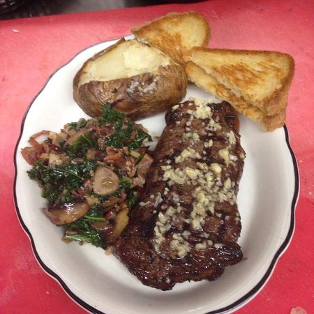 Jordan Valley, Oregón: Ribeye Steak with garlic-butter sauce