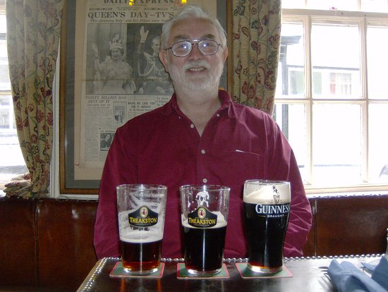 My dad with a selection of the beers available at Ye Dolphin!
