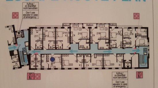 Hotel am Rhein: Übersicht zweite Etage