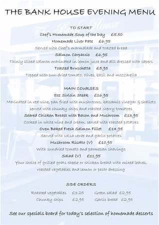 Charmouth, UK: Evening menu. Bookings advisable. 01297 561600