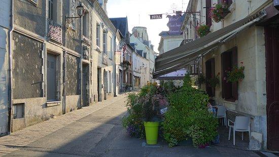 Бургей, Франция: En été, la terrasse bien végétalisée est un plaisir dans cette rue calme!