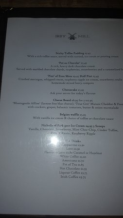 Greasby, UK: Desert Menu