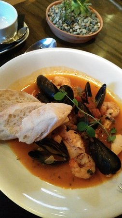 The Restaurant at Watermark : Medium-sized cioppino -- incredibly delicious with perfectly-cooked seafood and local bread