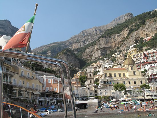Hotel Margherita: Positano from the boat trip..