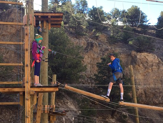 Salida, CO: My kids starting one of the many challenge elements at Captain Zipline