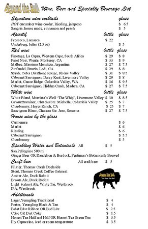 Seneca, SC: Beverage and Wine List